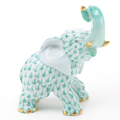 "Herend Green Fishnet with Gold ""Elephant"" Porcelain Figurine, January 1999"