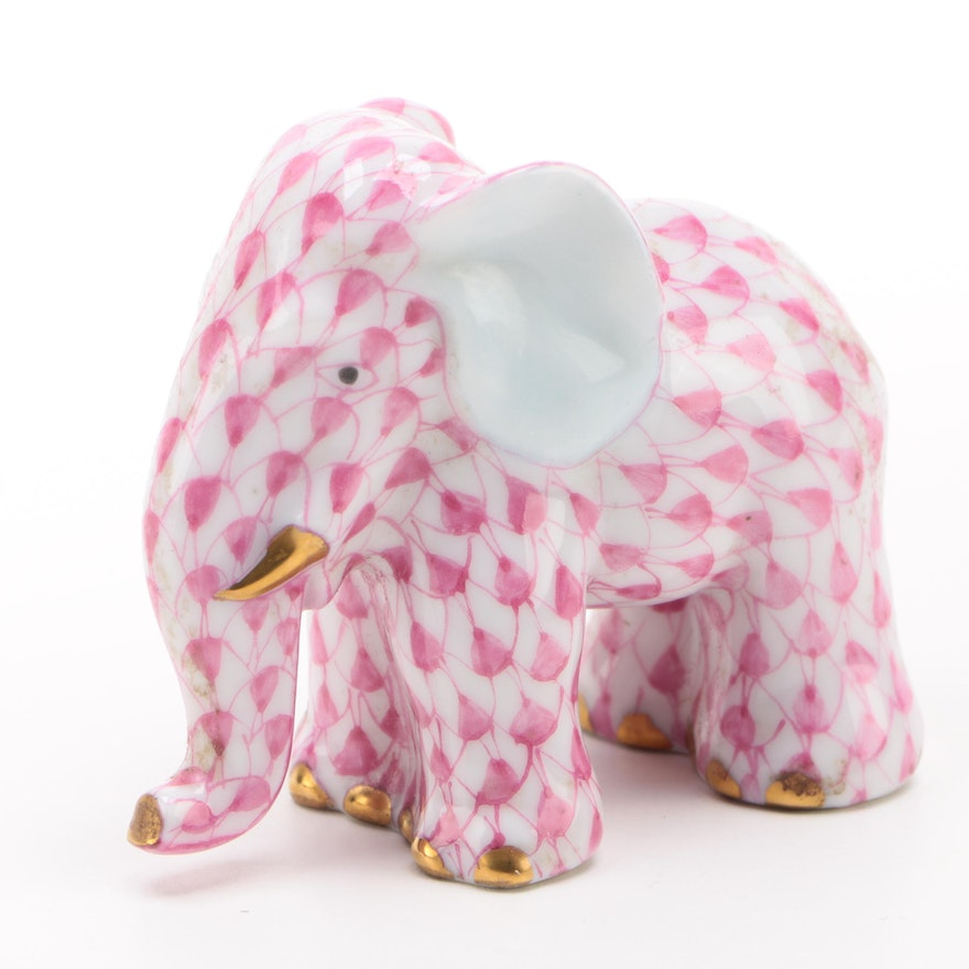 """Herend Raspberry Fishnet with Gold """"Miniature Elephant"""" Porcelain Figurine, 1994"""
