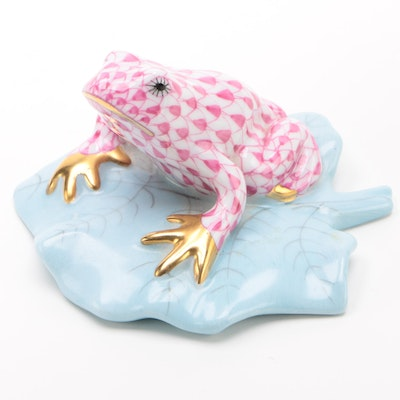 "Herend Raspberry Fishnet ""Frog on Lily Pad"" Porcelain Figurine, January 1993"