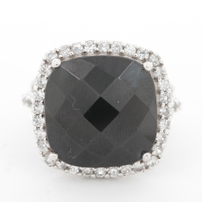 Sterling Silver Black Spinel and Sapphire Ring