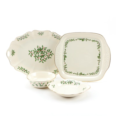 "Lenox ""Holiday"" Porcelain Serving Tray, Platter and Bowls, Late 20th Century"