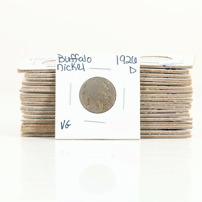 Group of Thirty-Six Different Buffalo Nickels Ranging from 1913-1938