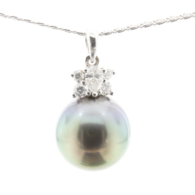 18K White Gold Cultured Pearl and Diamond Pendant Necklace
