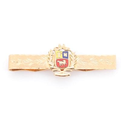 18K Yellow Gold Crest Tie Bar