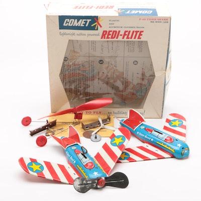 Ohio Art Coast Guard Tin Lithograph Planes and Comet Redi-Flite Box, Mid-Century