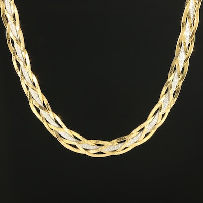 14K Yellow and White Gold Braided Necklace