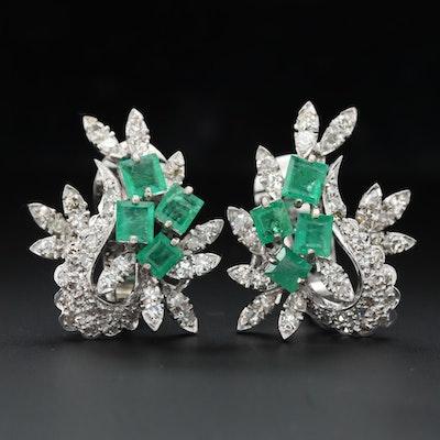 10K White Gold Emerald and 1.74 CTW Diamond Earrings