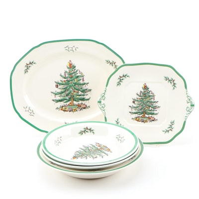 "Spode ""Christmas Tree"" Earthenware Serveware, Late 20th Century"