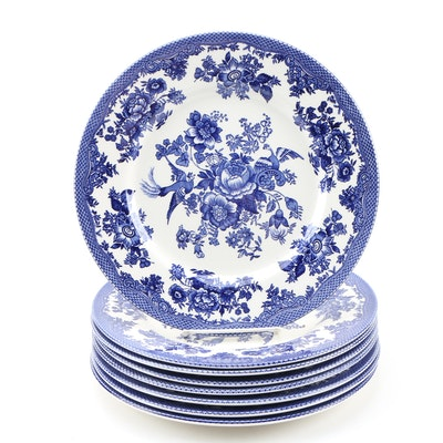 "Royal Stafford ""Asiatic Pheasant Dark Blue"" Earthenware Dinner Plates"