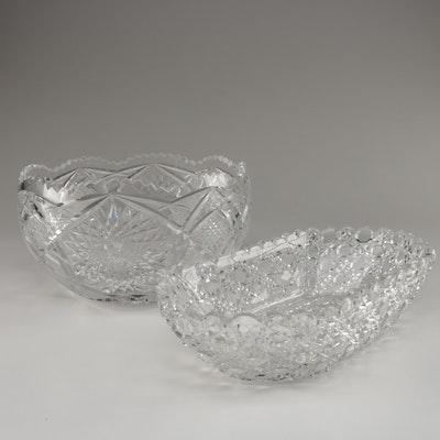 American Brilliant Cut Glass Serving Bowls
