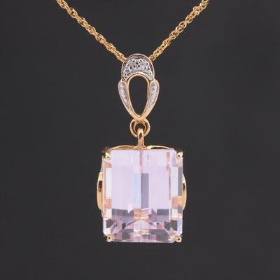 14K Yellow Gold Kunzite and Diamond Pendant Necklace