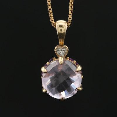 14K Yellow Gold Rose Quartz, Amethyst and Diamond Pendant on 18K Box Chain