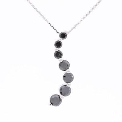 14K White Gold 1.01 CTW Black Diamond Pendant Necklace