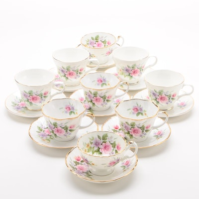 Regal Heritage, Crown Trent, and Harleigh Bone China Teacups and Saucers