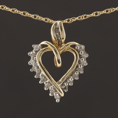 10K Yellow Gold Diamond Heart Pendant on 14K Yellow Gold Rope Chain Necklace