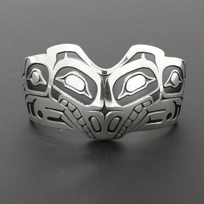 Odin Lonning Tlingit Sterling Silver Stylized Wolf Cuff Bracelet