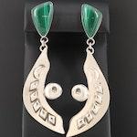 Philip Guerro Navajo Diné Sterling Silver Malachite Earrings