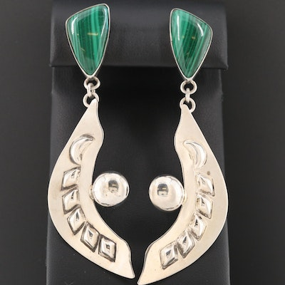 Philip Guerro Navajo Diné Sterling Silver Malachite Earrings