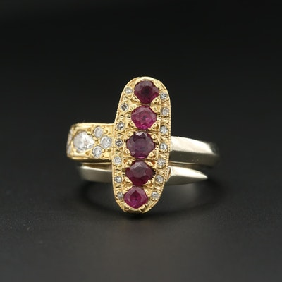 18K Yellow and 14K White Gold Ruby and Diamond Asymmetrical Ring