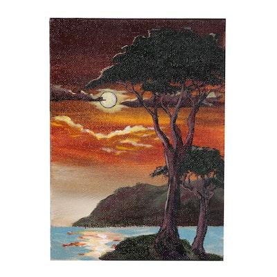 "Brian Johnpeer Acrylic Painting ""Sinking Sun"""