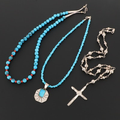 Sterling Silver Turquoise and Coral Cross Pendant Beaded Necklaces