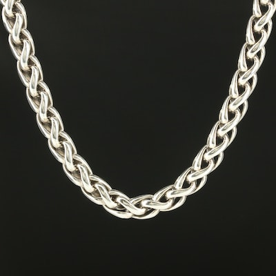 David Yurman Sterling Silver Wheat Link Necklace with 14K Yellow Gold Accents