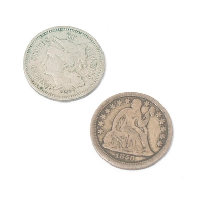 Silver 1856 Small Date Seated Liberty Dime and 1867 3-Cent Coin