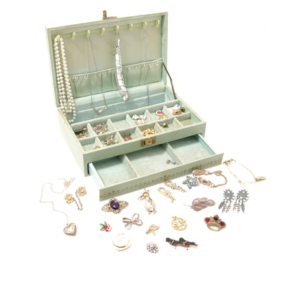 Vintage Jewelry Box with Brooches, Rings and Necklaces Including Aurora Borealis