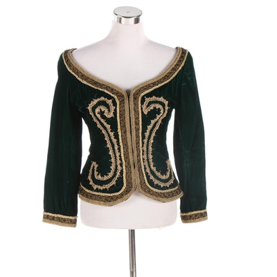 Baroque Inspired Embellished Green Velvet Jacket with Gold Metallic Trim