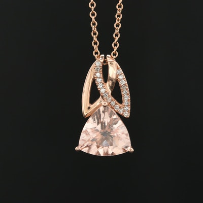 EFFY 14K Rose Gold Morganite and Diamond Pendant Necklace