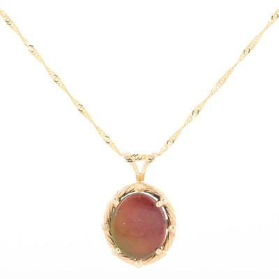 14K Yellow Gold Ammolite Triplet Pendant Necklace