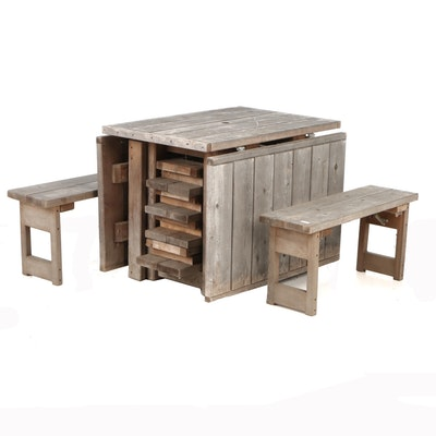 Pioneer Furnishings Co. Teak Gate-Leg Drop Leaf Picnic Table and Folding Benches