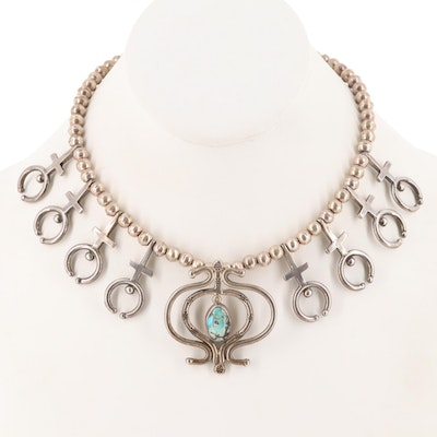 Sterling Silver Turquoise Naja Pendant Necklace