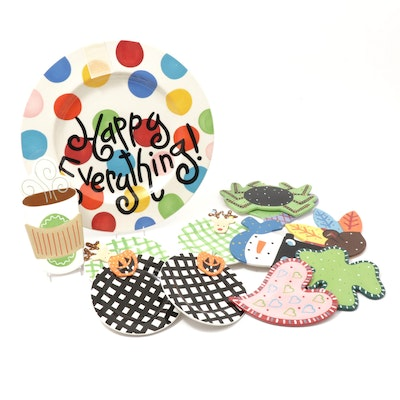 Coton Colors Whimsical Ceramic Party Plates & Trays