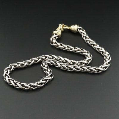 David Yurman Sterling Wheat Chain Necklace with 14K Yellow Gold Accents