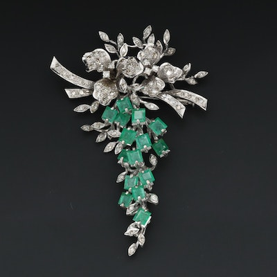 10K White Gold 1.80 CTW Diamond and Emerald Brooch with Articulated Dangle