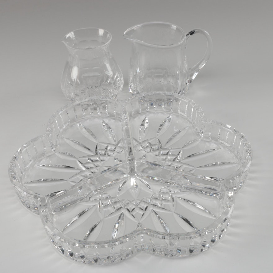 "Waterford Crystal ""Lismore"" Relish Dish, Stuart Crystal Creamer, and More"