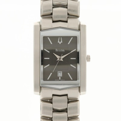 Bulova Stainless Steel Quartz Wristwatch With Date