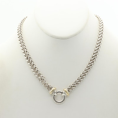 David Yurman Sterling Double Wheat Chain with 18K Yellow Gold Accents