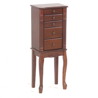 Queen Anne Style Wooden Jewelry Armoire, Contemporary