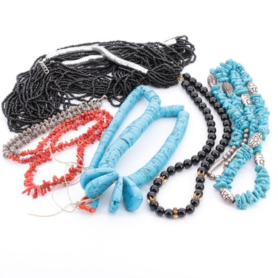 Collection of Beaded Necklace with Black Onyx, Turquoise and Coral