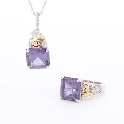 Sterling Silver Color Changing Sapphire and Cubic Zirconia Necklace and Ring