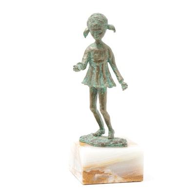 Bijan J. Bijan Brass on Alabaster Sculpture of Little Girl