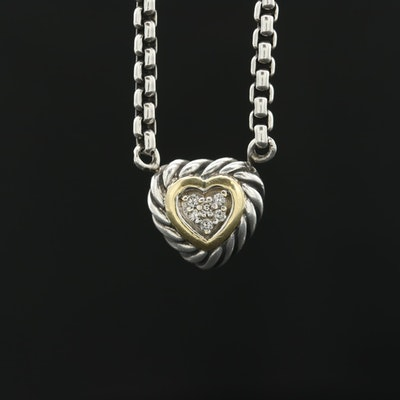 David Yurman Sterling Diamond Heart Necklace with 18K Yellow Gold Accents