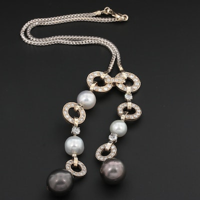14K and 18K White Gold Cultured Pearl and 4.91 CTW Diamond Necklace