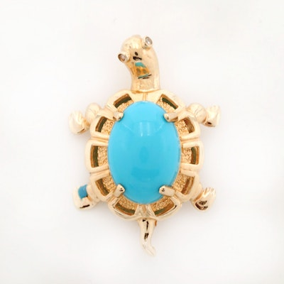 14K Yellow Gold Turquoise Turtle Brooch