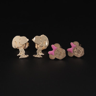 14K Yellow Gold Minnie and Snoopy Stud Earrings