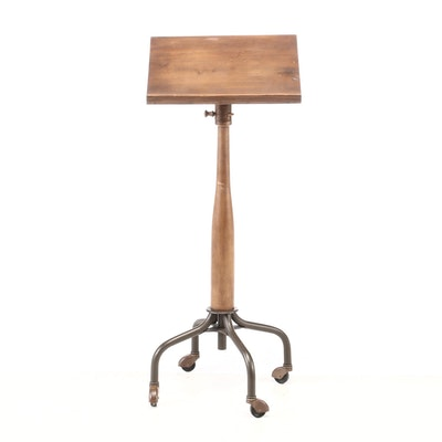 Walnut and Steel Lectern Stand on Castors