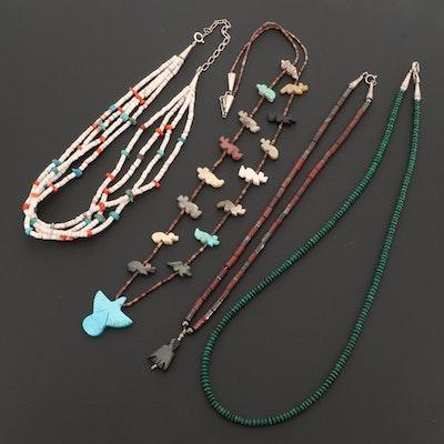 Southwestern Style  Malachite, Turquoise and Red Jasper Necklaces
