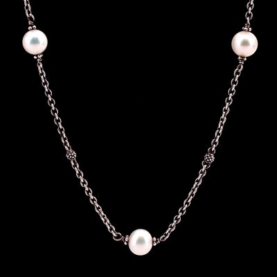 Lagos Sterling Silver Cultured Pearl Station Necklace